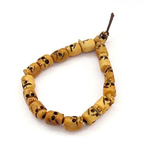 OVALBUY Ox Bone Buddhist Carved Skull Beads Mala Wrist Bracelet ()