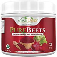 PureBeets   100% Organic Pure Beet Root Powder   Best Value Beetroot Nitric Oxide Supplement   Beets Support Faster Recovery & Total Body Health - Viva Deo (17.5 oz, 78 Servings)