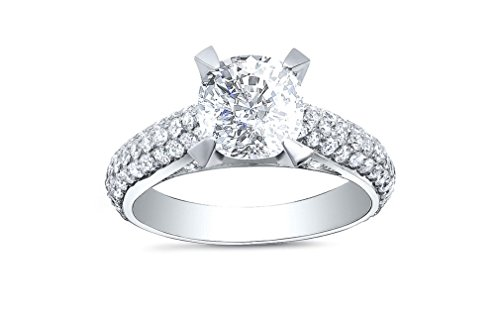 DIAMOND MANSION Hand Crafted Cushion Cut Micro Pave Natural Diamond Engagement Ring - GIA Certified (Platinum, 2.30)