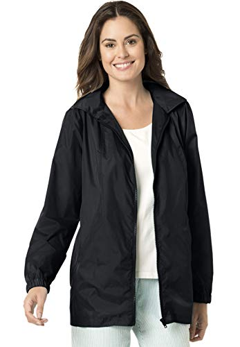 Zip Front Windbreaker - Women's Plus Size Zip Front Nylon Jacket