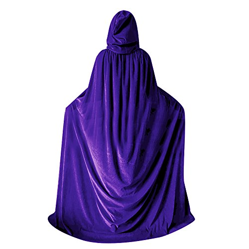 QBSM Women Men Purple Halloween Velvet Cloak Witch Wizard Costume Hooded Party Raven Cosplay Capes Adult