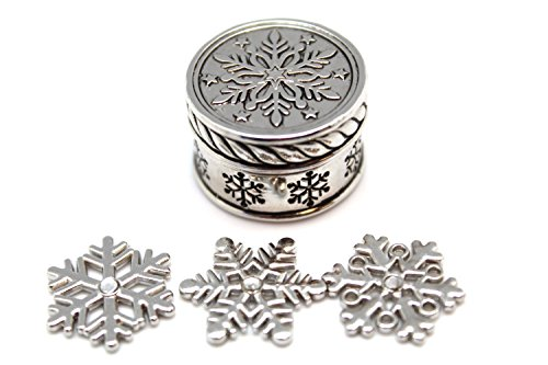 Triple Snowflake Holiday Trinket - Ganz Snowflake Wishbox and Charms (Pudding Christmas Charms)