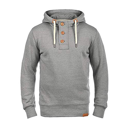 Sunhusing Men's Solid Color Long Sleeve Button Buckle High Collar Drawstring Hoodie Sweatshirt Pullover Coat