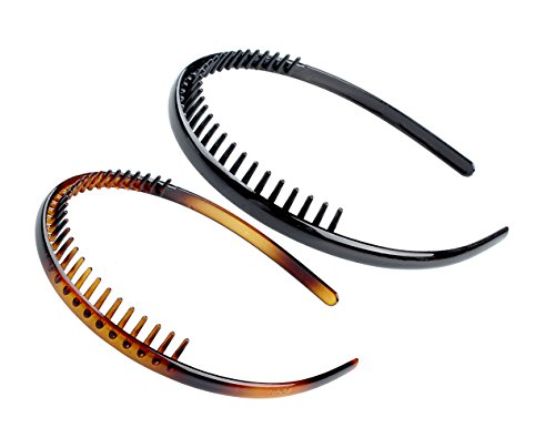 Price comparison product image KALIYOTO Set Of 2 Zig Zag Black Plastic Sharks Tooth Hair Comb Headband (1 Black +1 Brown Color)