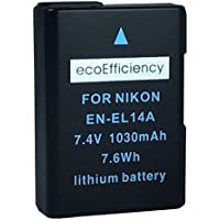 ecoEfficiency Fully Decoded EN-EL14, EN-EL14A Battery for Nikon D3400 Digital SLR Camera