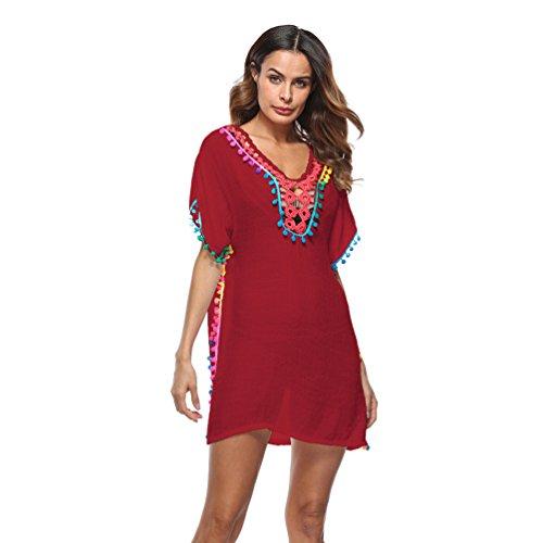 Beachwear Rosso Tessuto Spiaggia Vestito Traspirante Nappa Tradizionale Modello Da Baijiaye Coprire Donna Esterno gaw1Y1