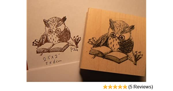 P27 Small Reading owl Rubber Stamp WM