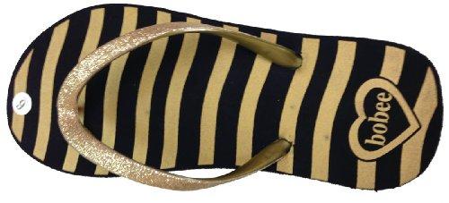 Kvinna Flip Flop Med Zebra Tryck Wth Glitter Band Guld