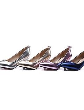 GGX/ Zapatos de mujer-Tacón Kitten-Tacones / Pump Básico / Puntiagudos-Tacones-Vestido / Fiesta y Noche-Semicuero-Azul / Rosa / Plata / Oro , pink-us3.5 / eu33 / uk1.5 / cn32 , pink-us3.5 / eu33 / uk1