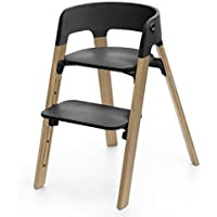 Stokke Steps Chair Complete (Natural Oak Legs and Black Seat)