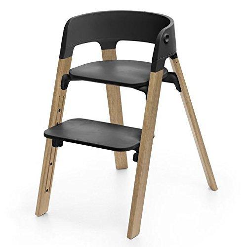 Stokke Steps Chair Complete (Natural Oak Legs and Black (Stokke Desk)