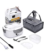 Electric Lunch Box Food Heater - FORABEST 2-in-1 Portable Food Warmer Lunch Box for Car & Home – Leak Proof, 2 Compartments, Removable 304 Stainless Steel Container, Fork & Spoon and Carry Bag (Grey)