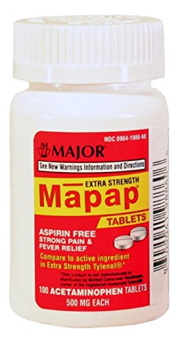 MAPAP ES 500MG TAB UNBOXED ACETAMINOPHEN-500 MG White 100 TABLETS UPC 309041988606 -  Major Pharmaceuticals, 00904-1988-60
