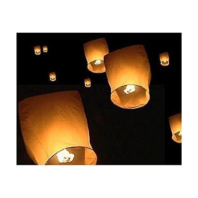 10x écologique Sky lanternes pour Noël, Nouvel An, nouvel an chinois, les mariages et les fêtes (40cms 58cms x 105cms)