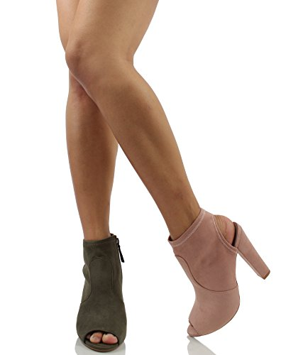Delicious Womens Faux Suede Open Toe Chunky Block Heel Ankle Bootie Mauve j5lDiFmdhO