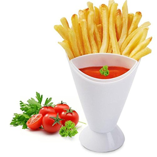 French Fries Ketchup (LALANG Portable 2 in 1 French Fries Cone with Dipping Container Salad Potato Chips Cup Kitchen Tools)