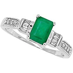 Emerald Cut Genuine Emerald Diamond Ring,14Kt White Gold