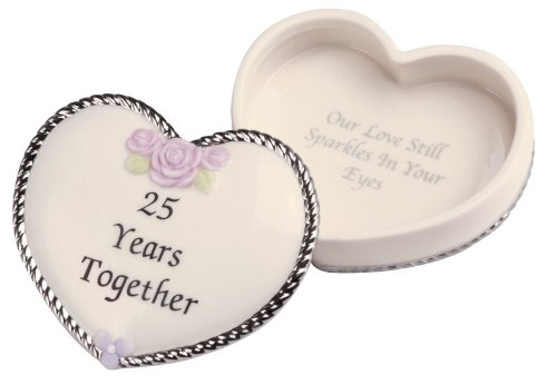 Precious Moments 25th Anniversary Heart Covered (Precious Moments Covered Box)