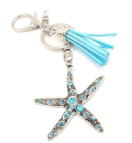 Aqua Rhinestone Starfish Keychain Bag Charm Pocketbook Accessory Aqua Tassel Nautical Ocean Lovers
