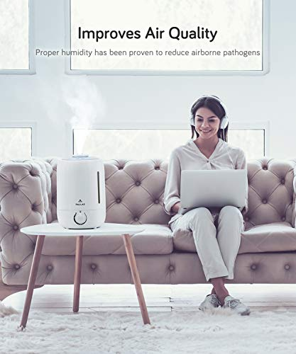 Pallas 2019 Humidifier - 5L Cool Mist Ultrasonic Humidifier for Bedroom, Baby, Home, Vaporizer for Large Room with Adjustable Mist Knob 360 Rotatable Mist Outlet by Pallas (Image #2)