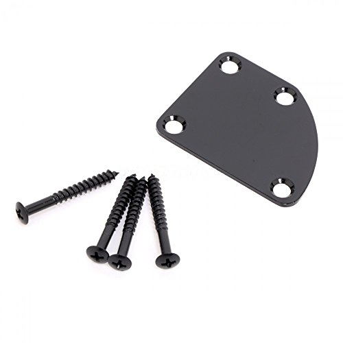 Black Electric Guitar Neck Plate Neckplate 4 Mounting Screws Curved