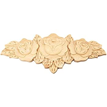 MUXSAM 1pc 23x9cm Wood Carved Long Onlay Applique Unpainted Rose Furniture Door European Style