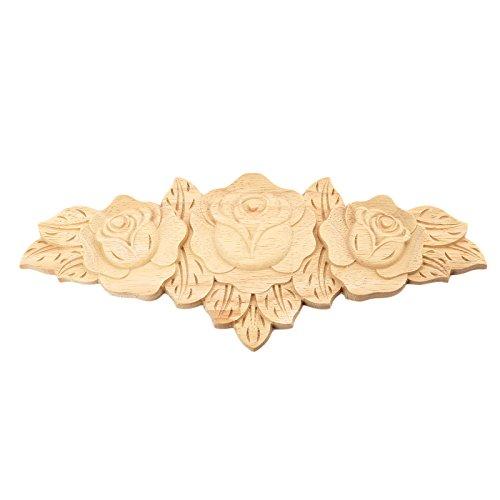 ed Long Onlay Applique Unpainted Rose Furniture Door European Style ()
