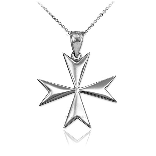 Polished Sterling Silver Maltese Cross Pendant Necklace (18) (Silver Cross Sterling Maltese)