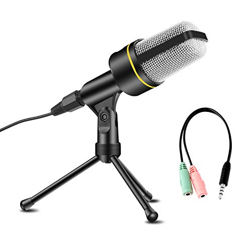 USHAWN Condenser Microphone Professional Studio Recording Mic with Tripod Stand for Broadcasting, Chatting, Interview, Video Conference, YouTube Recording, Perfect Fit Your PC, Laptop and Phones by USHAWN