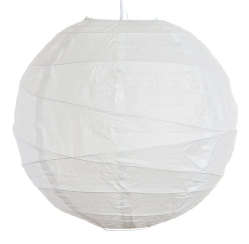 Round Party Wedding Lanterns (18 Inch, White Irregular Ribbed Paper (Paper Lantern Shades)