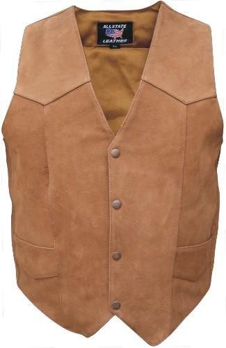 Mens Brown Buffalo Leather Motorcycle Vest - 3X - AL2216 (Leather Motorcycle Vest 3x)