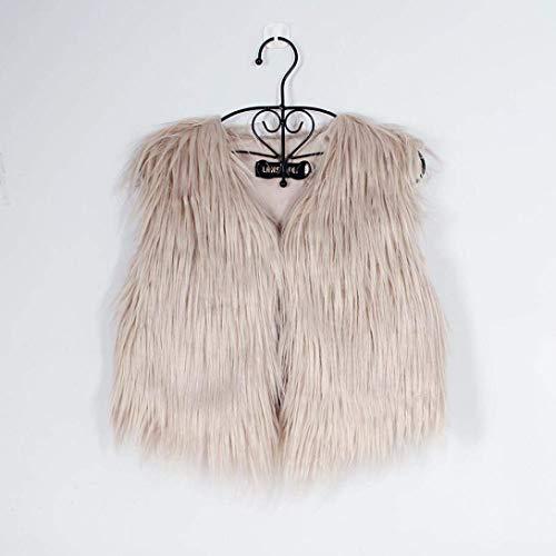 Oudan Fourrure Taille Sans Veste Gilet Manches Dames Fausse coloré Kaki Small Manteaux Blanc RrqCT