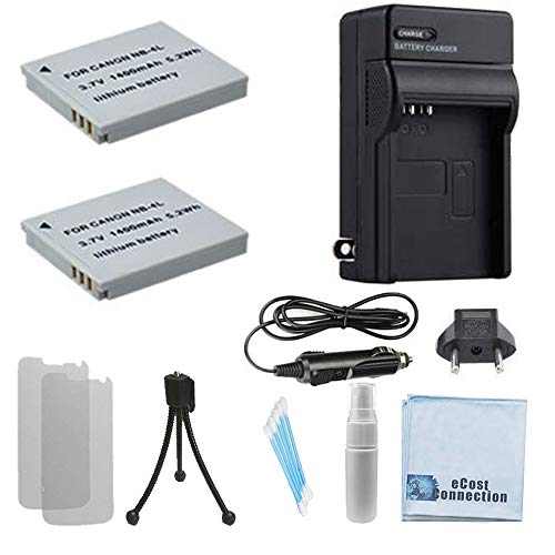 2 NB-4L Batteries Replacement + Car/Home Charger For Canon PowerShot ELPH Series 100 HS, 300 HS, 310 HS, 330 HS, TX1, Digital Series 40, 50, IXUS Series iZoom, i7 Zoom, Wireless, 30, 40, 50, 55, 60, 65, 70, 75, 80 IS, 100 IS, 110 IS, 120 IS, 130, SD Series SD40, SD30, SD30, SD200, SD300, SD400, SD430, SD450, SD600, SD630, SD750, SD780, SD940 IS, SD960, SD960, SD1000, SD1100, SD1400, IXY Digital 10, 40, 45, 50, 55, 60, 70, 80, 90, Wireless, L3, L4, IXUS Series iZoom, i7 Zoom, Wireless, 30, 40, 50, 55, 60, 65, 70, 75, 80 IS, 100 IS, 110 IS, 120 IS, 130 & More.. Camera + Complete Starter Kit