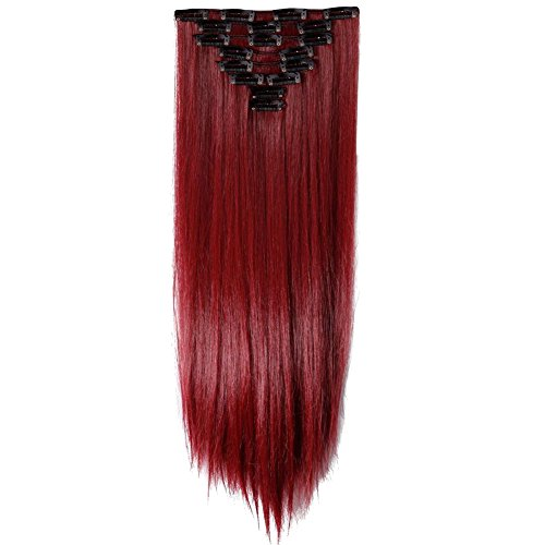 LHFLIVE Womens 18 Clips 8pcs Full Head Hair Extensions 26 Inch Long Straight Rose Red Hairpiece]()