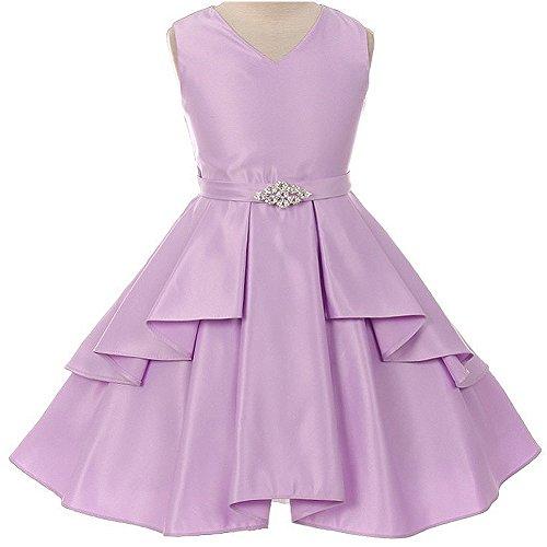 Big Girls Gorgeous Sleeveless V-Neckline Ruffle Top Layer Skirt Satin