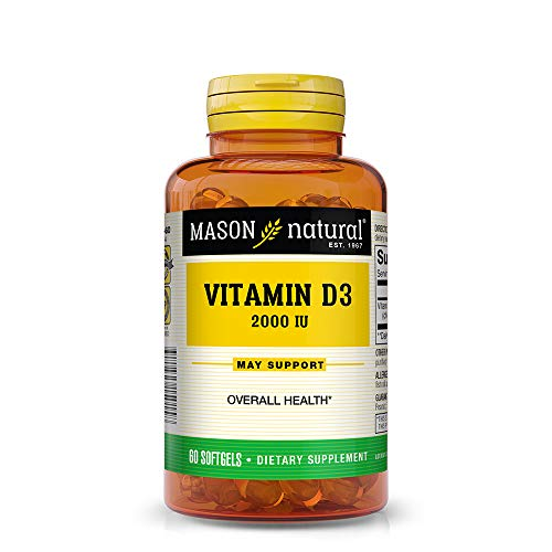 Mason Natural, Ultra Strength D3 Vitamins, 2000 iu Softgels, 60-Count Bottle, Dietary Supplement Supports a Healthy Immune System and Strong Bones ()