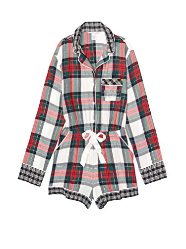 (Victoria's Secret Flannel Romper Pajamas Ivory/Red/Green Plaid)