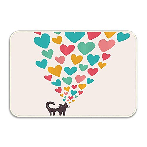 Cute Cat in Love with Colorful Different Size Hearts Happy Sweet Kitty Clipart Funny Doormat Floor Mat Rug Indoor/Outdoor/Front Door/Bathroom mat Rubber Non Slip (16x24)