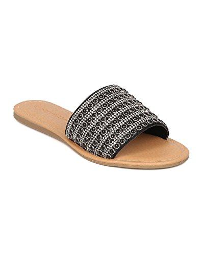 Women Open Toe Flat Sandal - Rhinestone Embellished Slides - Beaded Slipper - HA61 By Wild Diva - Black Mix Media (Size: (Girls Black Hazel Shoes)