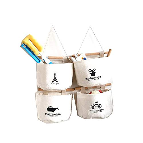 Leoyoubei Wall-Mounted Storage Basket Hanging Bag, Waterproof Cotton Linen Flower Pot Small Sack, Wall-Mounted/Door Magazine Storage Bag 4pack Creamy-White (Creamy-White)