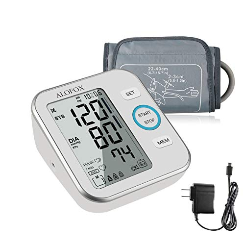 ALOFOX Blood Pressure Monitor Accurate Automatically Measure Pulse Diastolic Systolic Upper Arm Bp Machine for Home Use 2 User Mode with Large Cuff and 2x120 Sets Memory FDA ()