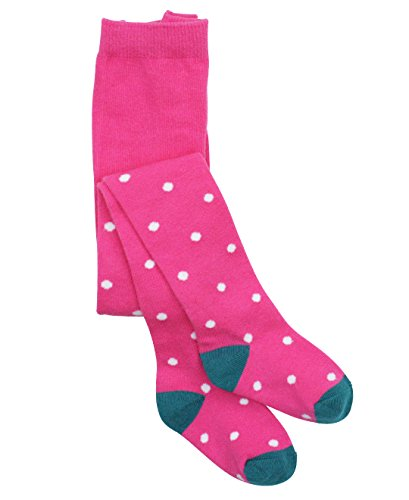 Toddler Girls Candy Pink Footless Tights w/ White Polka Dots - Pink - 0-6m (Cotton Polka Dots Tights)
