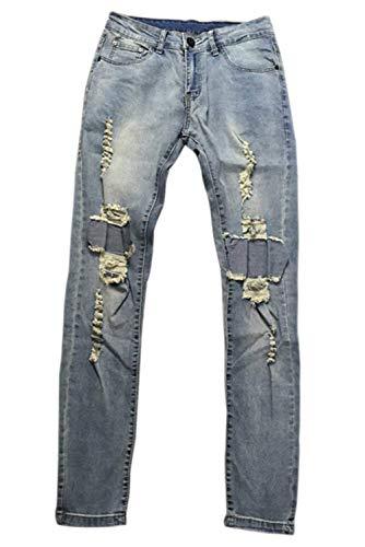 Fori Vintage Di Qk Lavati Ragazzo Strappati Jeans lannister Con Denim Blau Gli Uomini Strappato Pantaloni Svago In wqwOR47Sx