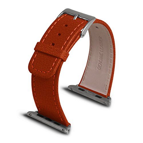 Lucrin - Apple Watch Band 42 mm - Orange - Goat Leather by Lucrin