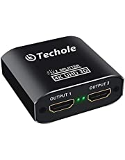 HDMI Splitter 4K, Techole Alluminio Splitter HDMI 1x2, 2 Vie Sdoppiatore HDMI Supporto 3D UHD 1080p HDCP per Xbox, CEC, PS4, PS3, One Sky Box, Blu-Ray Lettore, DVD, DVR, HD TV(Cavo Micro USB Incluso)
