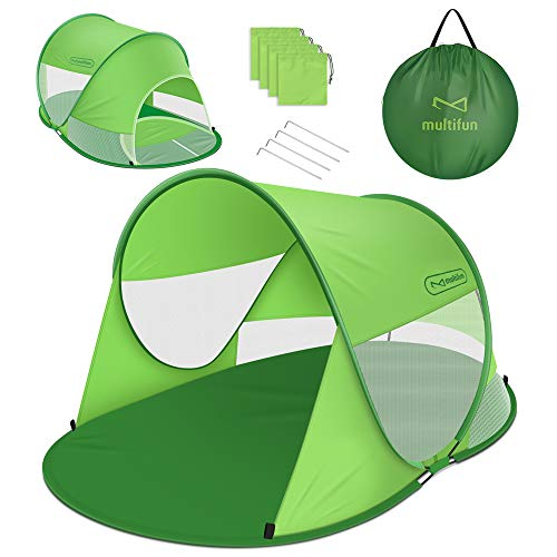 multifun UPF 50+ Easy Pop Up Beach Tent, Large 3-4 Person Sun Shelter, Instant Sunshade, Waterproof Portable Beach Shade, Windproof Sport Umbrella, Easy Setup, Picnics, Hiking, Camping, Fishing (Best Pop Up Shade)
