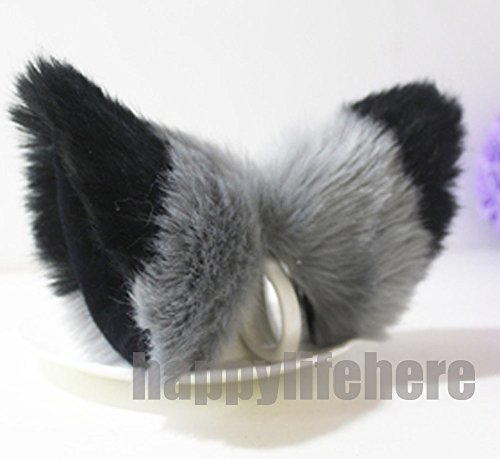 Cat Fox Ears Kitty Costume Halloween Cosplay Fancy Dress Black with gray -