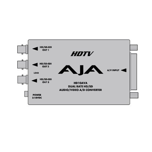 AJA HD10AVA SD/HD Analog Composite or Component Video & 4-Channel Analog Audio to SD/HD-SDI with Embedded Audio (Hdv Deck)