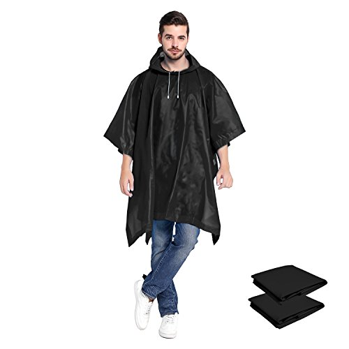 Rain Ponchos 2 Packs for Adults with Drawstring Hood - Emergency Rain Coat for Theme Park, Hiking, Camping or Traveling (Black)