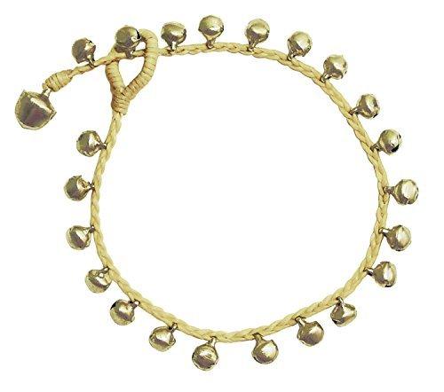 Bijoux De Ja BDJ Handmade Tiny Bells Beige Cord Anklet Bracelet 10 Inches (AkSP09)